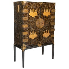 Large Japanese Black and Gold Lacquered Cabinet on Stand with Gilt Mounts