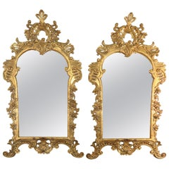 Pair of Monumental French Louis XV Style Giltwood Mirrors