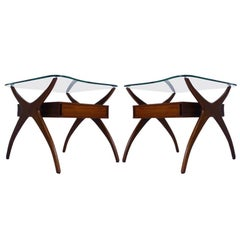 Midcentury Pair of Sculptural Walnut and Glass End Tables