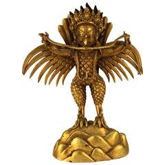Chinese or Tibetan Gilt Bronze Garuda with Naga Sculpture