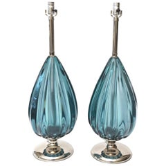 Pair of Italian Vintage Seguso Sapphire Glass and Nickel Silver Teardrop Lamps