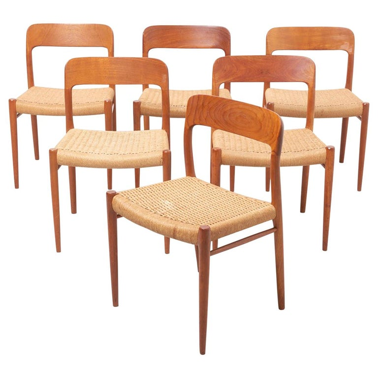 Set Paper Cord Dining Chairs by Niels Møller, Denmark, 1954 For Sale