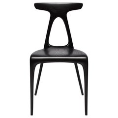 'Alpha' Contemporary Stacking Dining Chair Solid Ebonized Oak by Made in Ratio