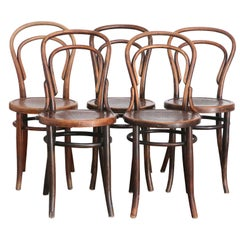 Set of Five Thonet Viennese No. 14 Cafe Chairs