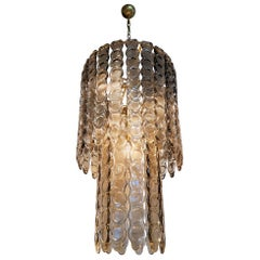 Large Murano Smoked Glass Chandelier, Mazzega Style, Mid-Century Modern, 1970s