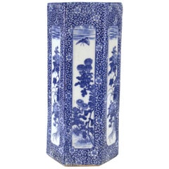 Meiji Period Japanese Transferware Porcelain Hat Stand Vase in Blue and White