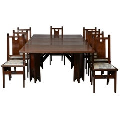 Important Art Nouveau Dining Set by Ernesto Basile for Ducrot, circa 1900