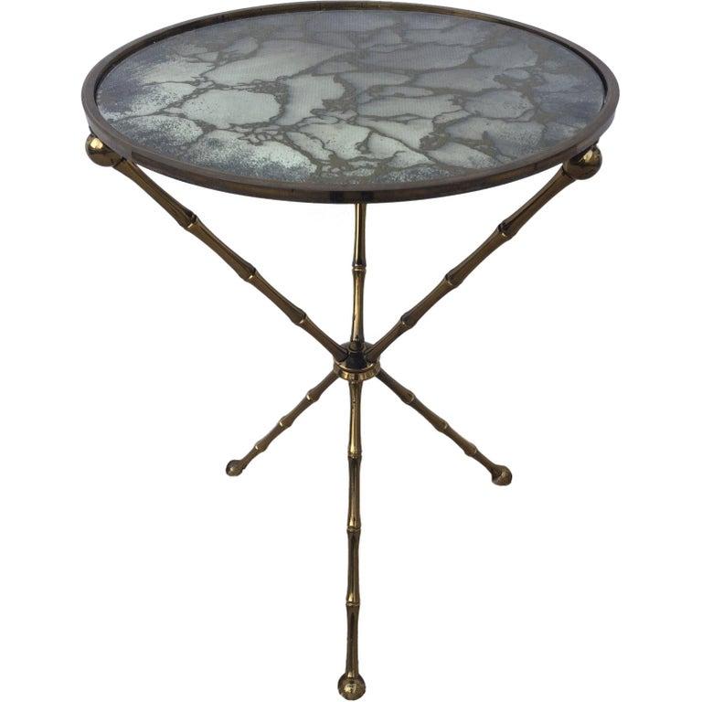 Maison Baguès Bronze Smoked Grey Gilt  Vien Mirror Top Table Hollywood Regency