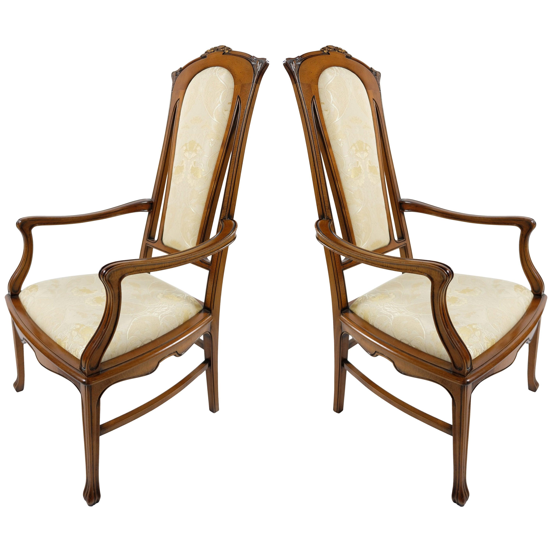 Medea Hand-Carved Art Nouveau Style Armchairs, Pair