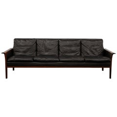 Four-Seat Sofa in Rosewood and Black Leather by Hans Olsen for Vatne, Norway