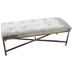 Maison Jansen Hollywood Regency Bench with Grey Chenille Seat