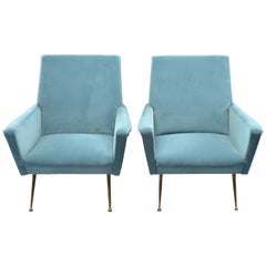 Pair of Midcentury Italian Armchairs with New Upholstery