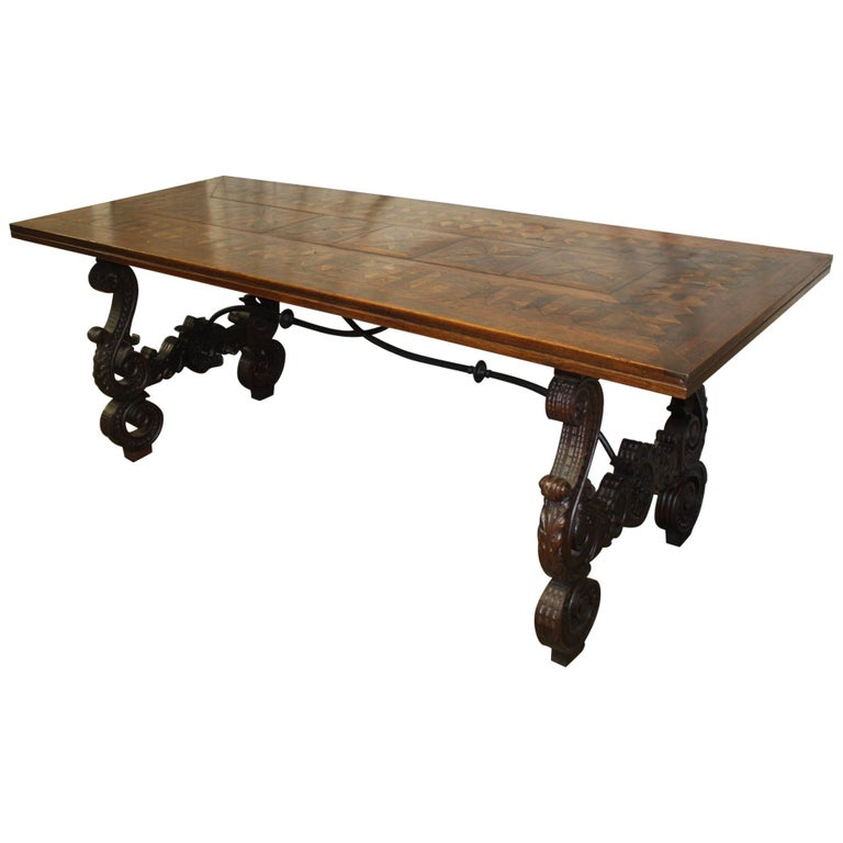 Exceptional 19th Century French Parqueted Trestle Table