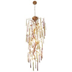Whimsical Gilt Bronze and Colorful Art Glass Chandelier