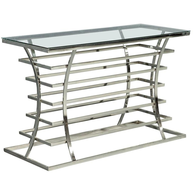 Jack Fhillips Stainless Steel and Glass Console Table