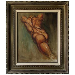 Oil Painting of Male Nude by California Artist Bill Brootip, circa 1970s