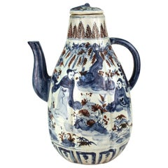 Chinese Yuan Dynasty Style Underglaze Blue & Iron Oxide Red Porcelain Wine Ewer