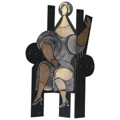 "Roger Capron, Raku Screen ""The Queen"", France, circa 1990"