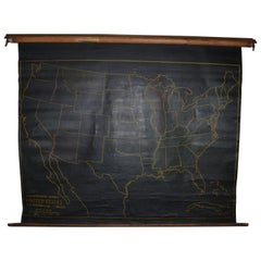 Map of United States, Early 1900s, with Chalkboard Canvas on Retractable Roller