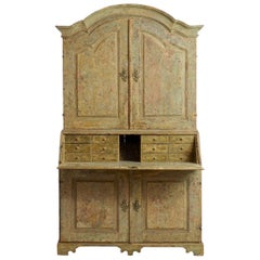18th Century Swedish Baroque Period Secretary with Library in Original Paint