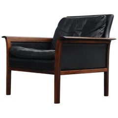 Black Leather and Rosewood Modern Lounge Chair by Hans Olsen for Vatne Møbler