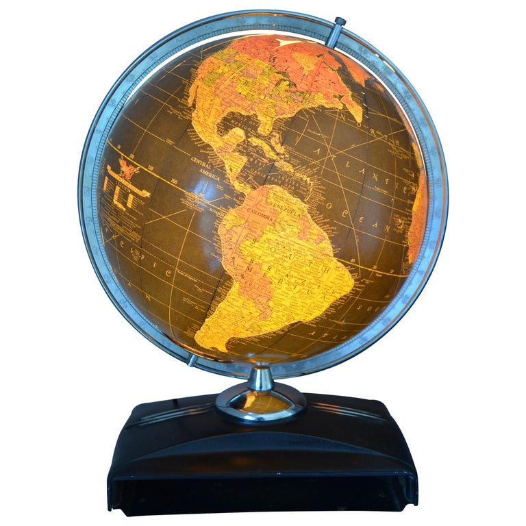 Globe Light-Up Art Deco Era in Rare Black Field of Color with Book Slot Base