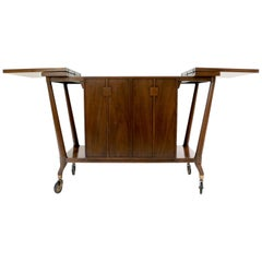 Sleek Midcentury Sculptural Bert England Walnut $ Brass Double Sided Bar Cart