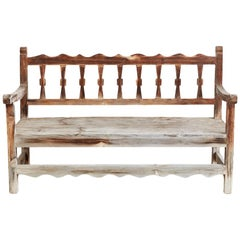 Rustic California Rancho Monterey Style Pine Bench