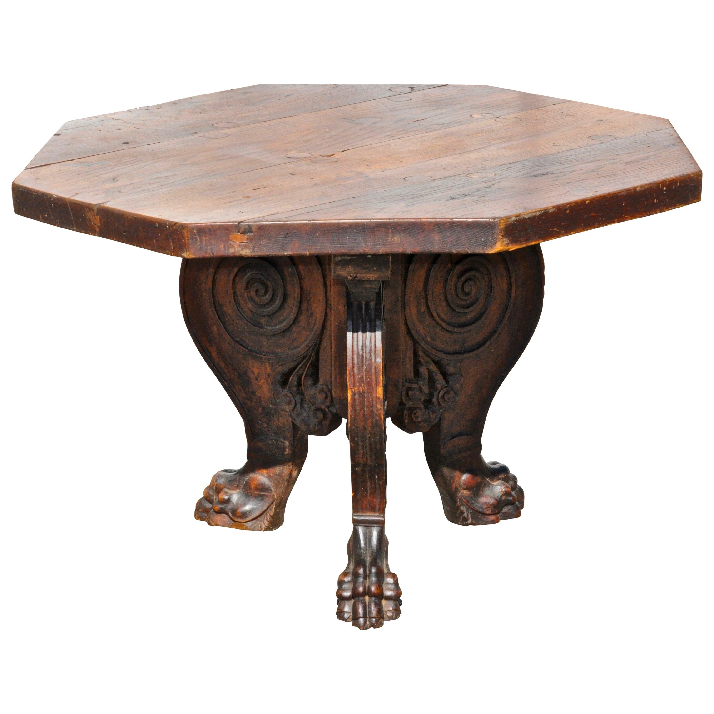 Italian Baroque Renaissance Walnut Centre Table