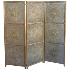 Sculptural Three-Panel Midcentury Bamboo Screen Room Divider