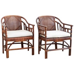 McGuire Style Bamboo Barrel Back Lounge Chairs
