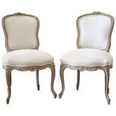 20th Century Louis XV Style Carved Wood and Linen Upholstered Chairs