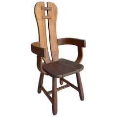 Organic Midcentury High Back Side Chair in Solid Oak