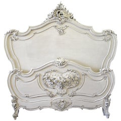 19th Century Antique Painted Louis XV Style Carved Bed