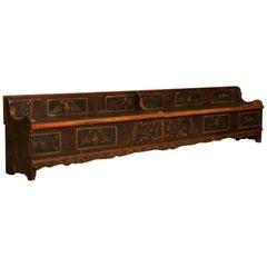 Long Antique Storage Bench with Original Folk Art Paint