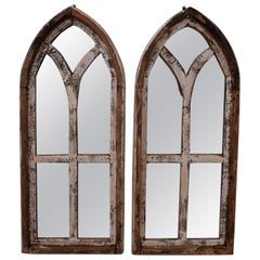 Pair Small Arched Wood Window Frames with Mirrors