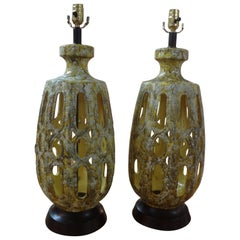 Pair of Vintage Italian Glazed Ceramic Lamps, Marbro Attributed