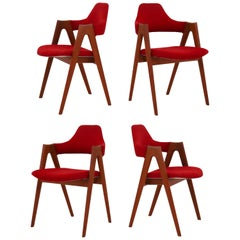 Set of Four Kai Kristiansen Teak Dining Chairs 1960s Model Compass SVA Møbler