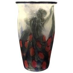 1928 Argy Rousseau Femmes Danseuses Vase in Pate de Verre