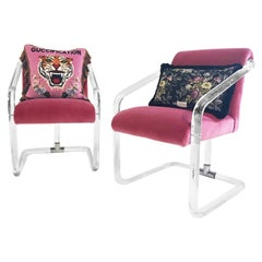 Vintage Lucite Chairs Restored in Loro Piana Pink Velvet with Gucci Pillows