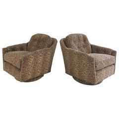 Vintage Milo Baughman Swivel Tilt Lounge Chairs Restored in Kravet Leopard Print