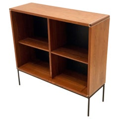 American Mid-Century Modern Walnut and Iron Bookcase
