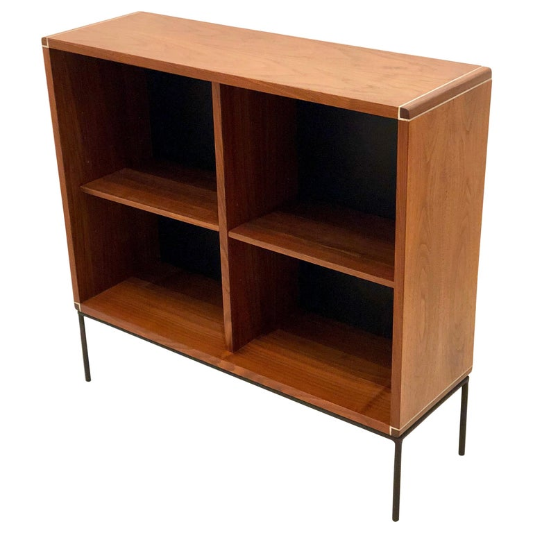 American Mid-Century Modern Walnut and Iron Bookcase For Sale