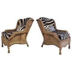 Vintage Ralph Lauren Wicker Wingback Chairs Restored in Zebra Hide, Pair