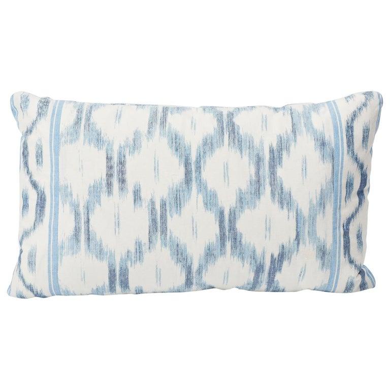 Schumacher Mark D. Sikes Santa Monica Ikat Indigo Blue Lumbar Pillow For Sale