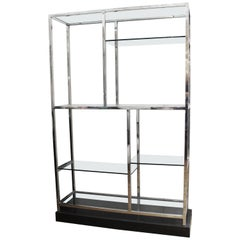 Milo Baughman Style Modern Chrome and Glass Etagere on Marble Base