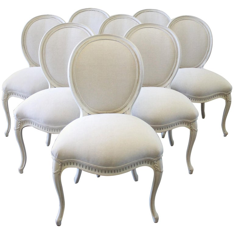 Set of Eight Painted and Upholstered Louis XV Style Dining Chairs For Sale