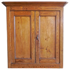 French XIX Stained Pinewood Linen Cupboard or Buffet