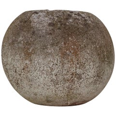 """Set of Three Concrete """"Canon Ball"""" Garden Urns from the 1950s, France"""