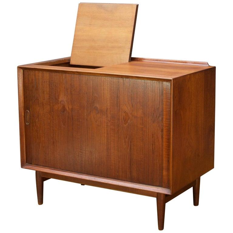 Arne Vodder Hifi Cabinet Teak Tambour Petite Stereo Credenza Danish Midcentury